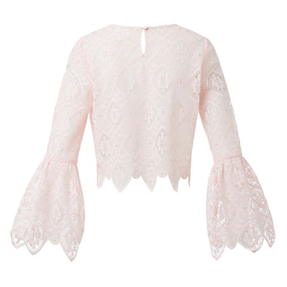 Lace Crop Bell Sleeve Top  PINK BLUSH  hi-res