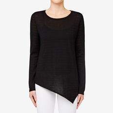 Asymmetrical Sweater  BLACK POINTELLE  hi-res