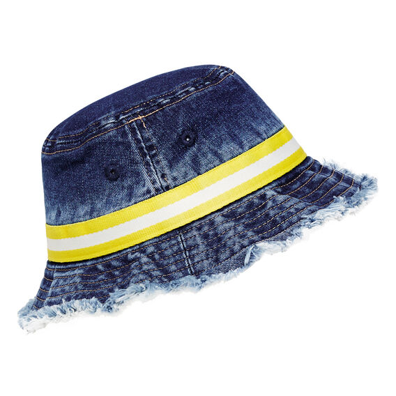 Stripe Band Sun Hat  DENIM  hi-res