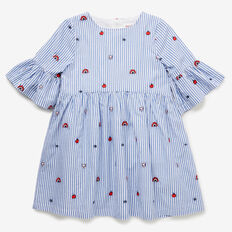 Stripe Embroidered Dress  BLUE SKY  hi-res