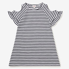 Cold Shoulder Stripe Dress  NAVY  hi-res