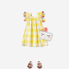 Gingham Tassel Dress  LEMON YELLOW  hi-res