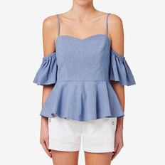 Fitted Cold Shoulder Top  CROSS DYE CHAMBRAY  hi-res