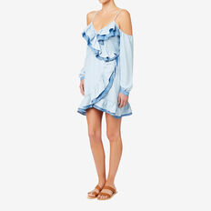 Two Tone Frill Dress  SPRING BLUE  hi-res