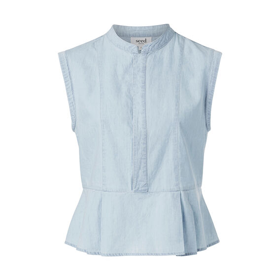 Chambray Peplum Top  CHAMBRAY BLUE  hi-res