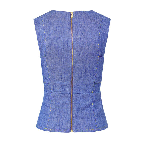 Denim Open Front Top  ELECTRIC BLUE  hi-res