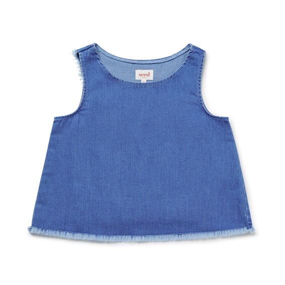 Raw Hem Split Back Top  BRIGHT INDIGO  hi-res