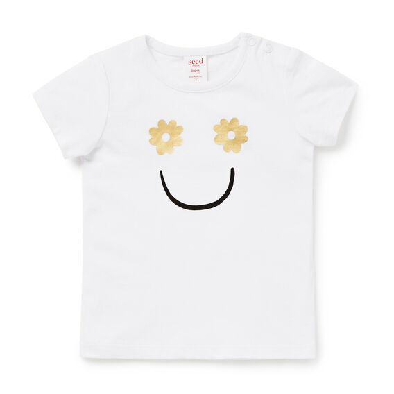 Smiley Face Tee  WHITE  hi-res