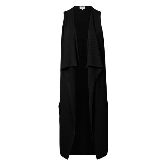 Sleeveless Rib Drape Cardigan  BLACK  hi-res