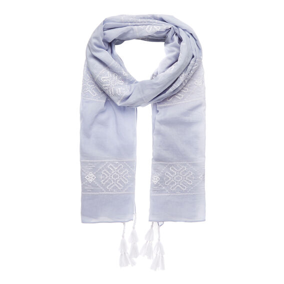 Embroidered Pattern Scarf  ICE BLUE CHAMBRAY  hi-res
