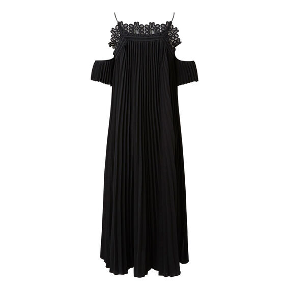 Pleated Lace Maxi  BLACK  hi-res