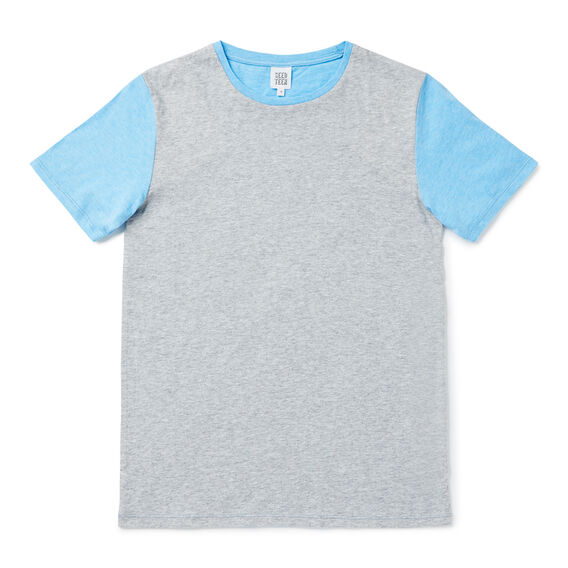 Colour Block Tee  MID GREY MARLE  hi-res