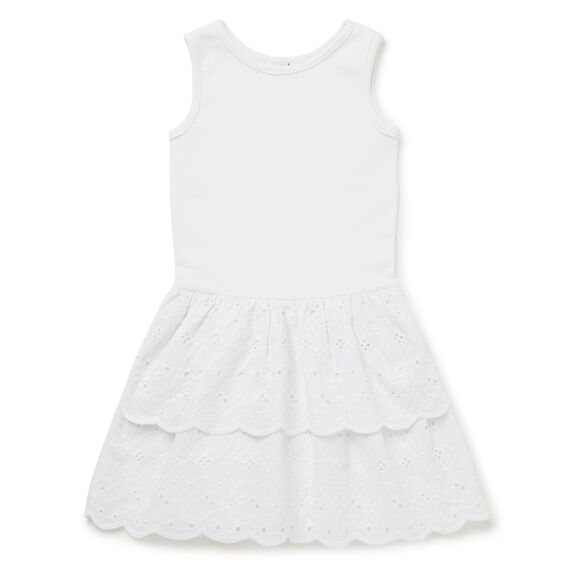 Splice Broderie Dress  WHITE  hi-res