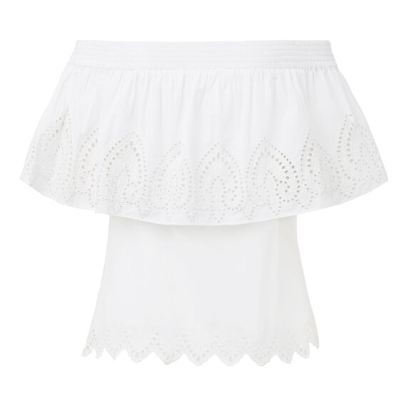 Strapless Broderie Top  WHITE  hi-res