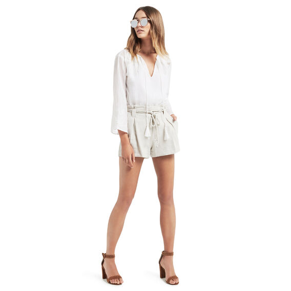 Oversized Lace Trim Blouse  WHITE  hi-res