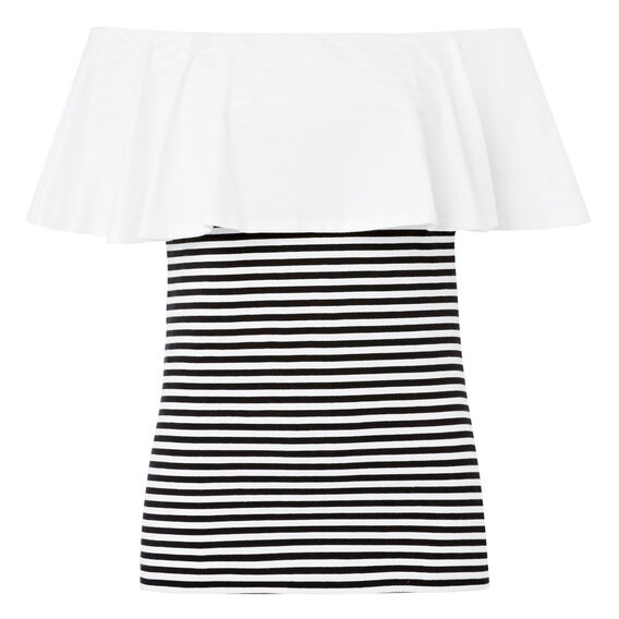 Frill Off Shoulder Top  BLACK/WHITE STRIPE  hi-res