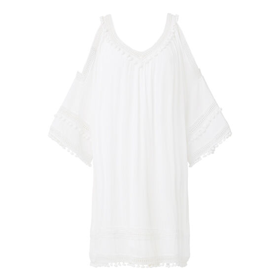 Pom Pom Cold Shoulder Dress  CREAM  hi-res