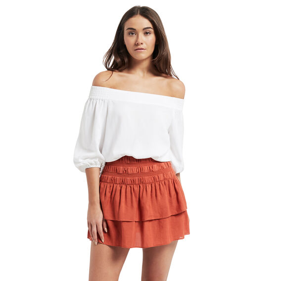 Linen Blend Rah Rah Skirt  CLAY  hi-res