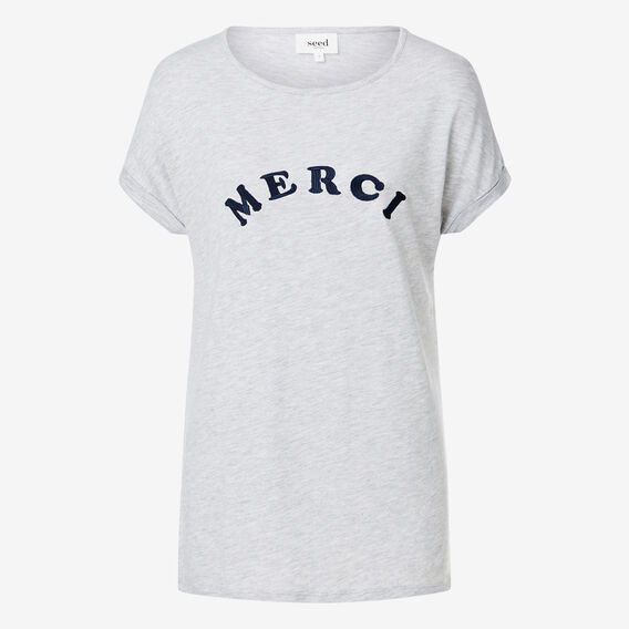 Embroidered Slogan Tee  LIGHT GREY MARLE  hi-res