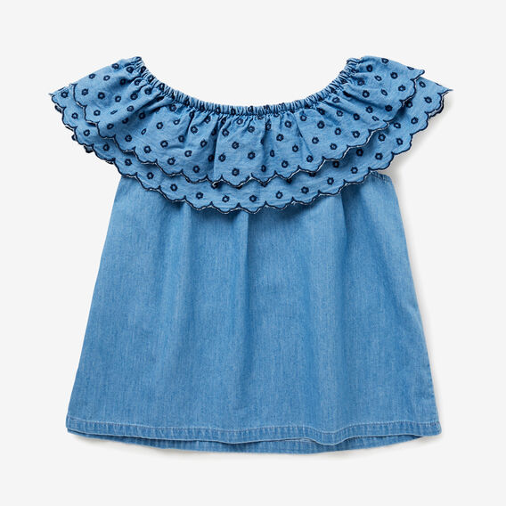Embroidered Top  SEA BLUE WASH  hi-res