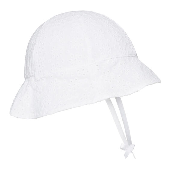 Floral Broderie Sun Hat  WHITE  hi-res