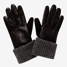 Rib Knit Leather Gloves