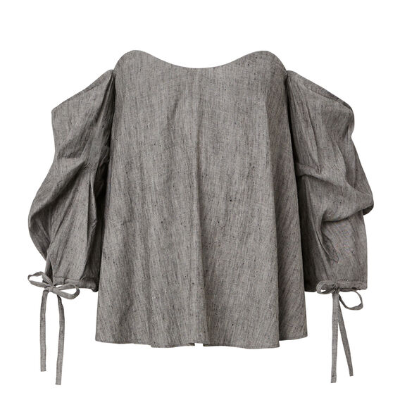 Chambray Off Shoulder Top  GREY CHAMBRAY  hi-res