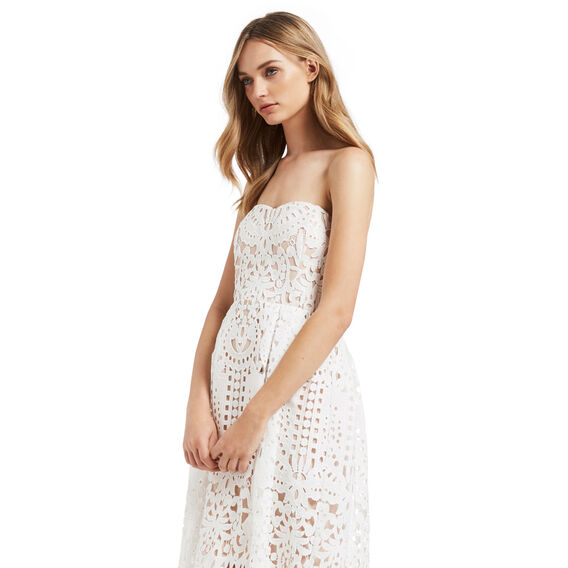 Lace Strapless Dress  DUSTY TAN/ WHITE  hi-res