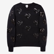 Sequin Heart Sweater  BLACK  hi-res