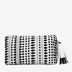 Small Cosmetic Bag  BLACK/WHITE WEAVE  hi-res