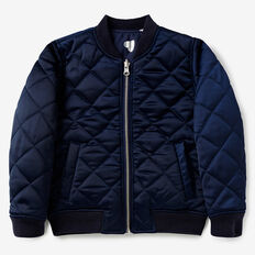 Reversible Quilted Bomber  NAVY  hi-res