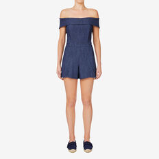 Denim Romper  TEXTURED INK DENIM  hi-res