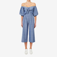 Peek A Boo Jumpsuit  CROSS DYE CHAMBRAY  hi-res