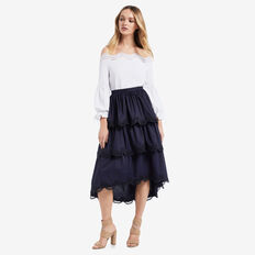 Tiered Hi Lo Skirt  DEEP NAVY  hi-res