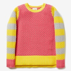 Colour Block Sweater  CORAL PUNCH MARLE  hi-res