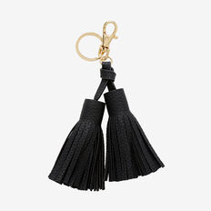 Double Tassel Keyring  BLACK  hi-res