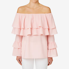 Layered Off Shoulder Top  PINK MIST  hi-res
