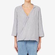 Stripe Wrap Blouse  DEEP NAVY STRIPE  hi-res
