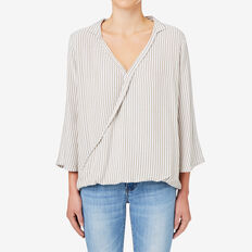 Stripe Wrap Blouse  FERN GREEN STRIPE  hi-res