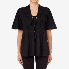 Pleated Flutter Top  BLACK  hi-res