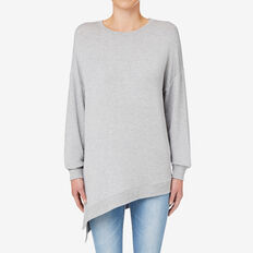 Asymmetric Split Top  MID GREY MARLE  hi-res