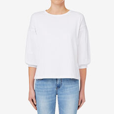 Contrast Sleeve Top  BRIGHT WHITE  hi-res