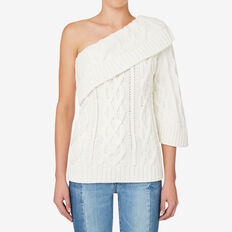 One Shoulder Cable Sweater  CANVAS  hi-res