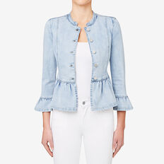 Denim Peplum Jacket  BLEACH BACK DENIM  hi-res