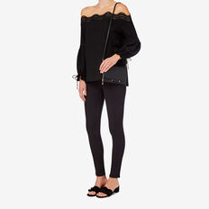 Off Shoulder Broderie Top  BLACK  hi-res