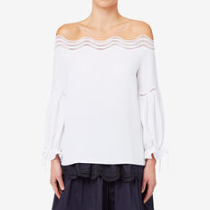 Off Shoulder Broderie Top  BRIGHT WHITE  hi-res