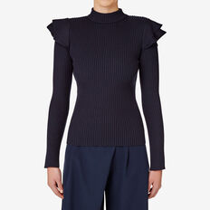 Frill Funnel Neck Knit  INK  hi-res