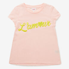 Embroidered Slogan Tee  PASTEL PEACH  hi-res