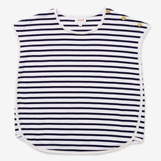 Stripe Curved Hem Tee  NAVY  hi-res