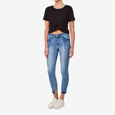 Gathered Hem Crop Tee  BLACK  hi-res